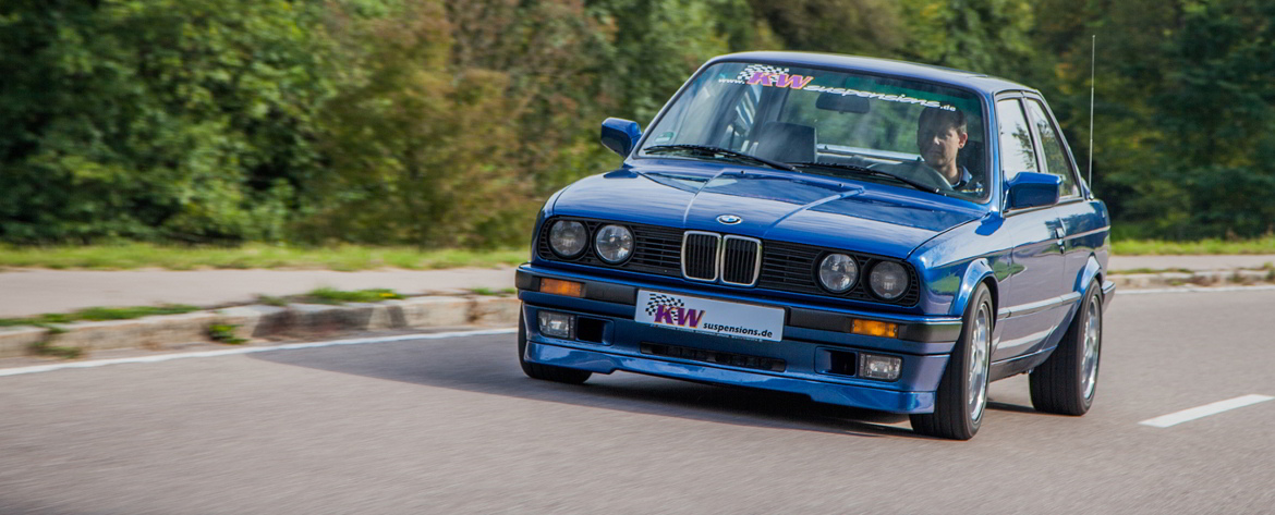 KW coilovers in a BMW E30