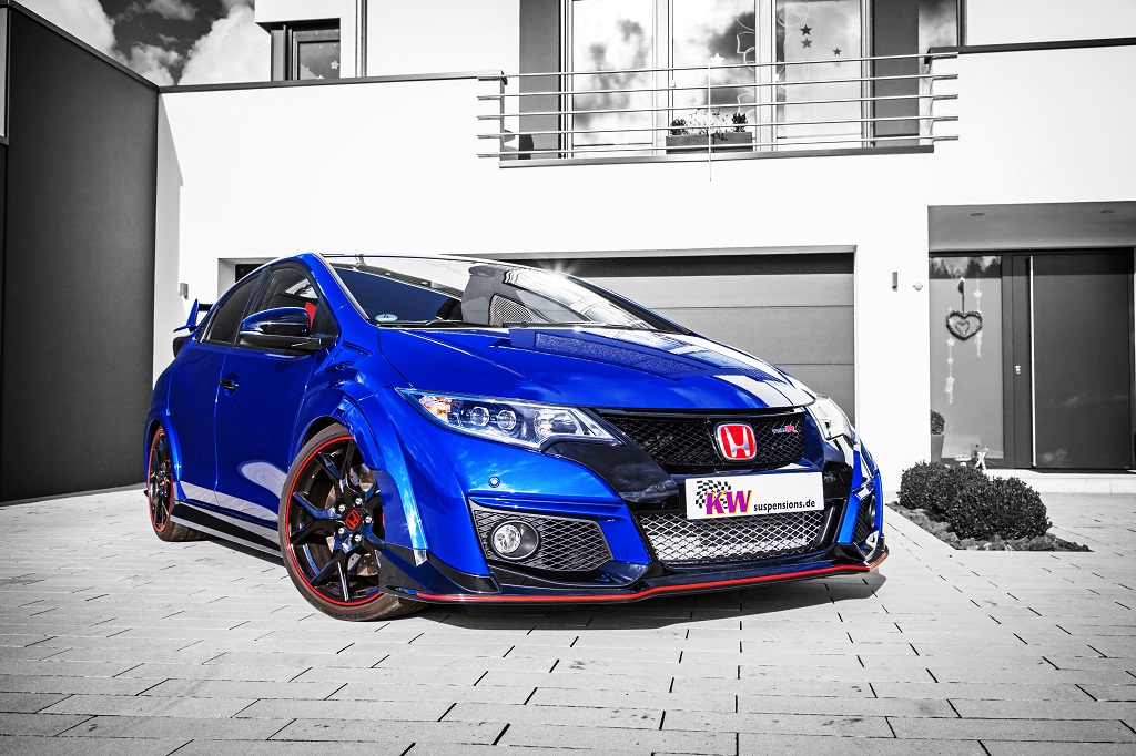 KW coilovers in a Honda Civic Type R with a lowering of 15 to 35 mm