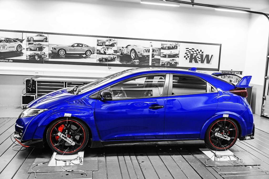 KW coilovers in a Honda Civic Type R tested on the KW 7-post rig