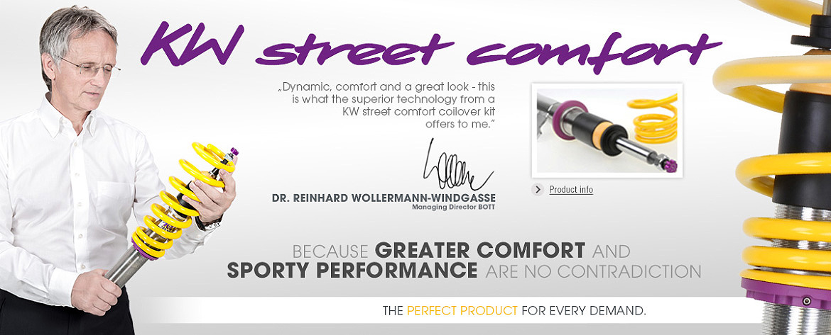 KW street comfort coilovers presented by Dr. Reinhard Wollermann-Windgasse